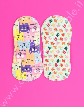 Duo Pack Small cloth pads Lalipad cats/mushrooms