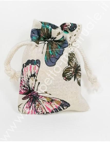 Sacchettino Lino chiusura lacci 10 x 13 cm Farfalle
