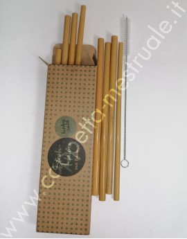 12 Bamboo straws and brush
