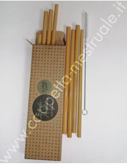 Set 12 Cannucce di bambù naturale e scovolino pulizia