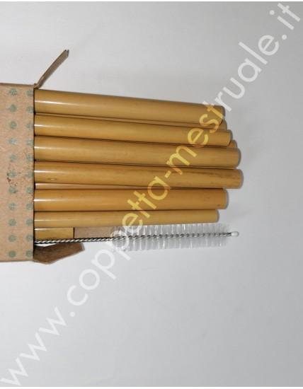 12 Bamboo straws and brush