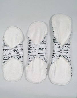 Trial Package velour bamboo cloth pads white (S+M+L)