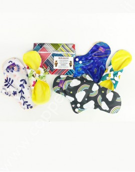 Set cloth pad regular flow LetItFlow (2M,3L,1 WB) for LetWomen